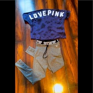 VS Pink outfit leggins (xs) crop top (s)